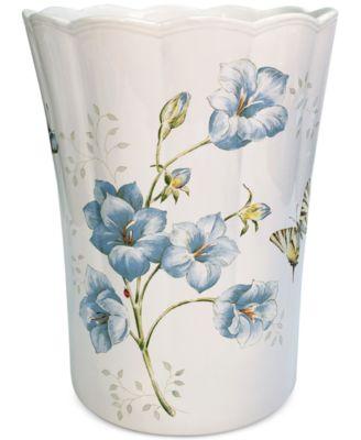 Blue Floral Garden Wastebasket