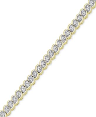 Image of Victoria Townsend Diamond Scalloped Bracelet (1 ct. t.w.) in 18k Gold-Plated or Sterling Silver-Plat