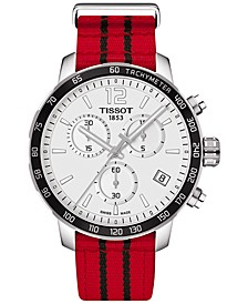 Unisex Swiss Chronograph Chicago Bulls Quickster Red and Black Strap Watch 42mm T0954171703704