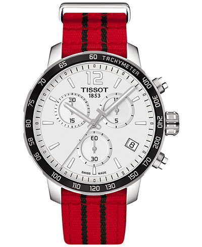 Tissot Unisex Swiss Chronograph Chicago Bulls Quickster Red and Black Strap Watch 42mm T0954171703704
