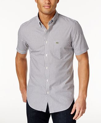 Lacoste Men's Gingham Short-Sleeve Shirt - Casual Button-Down ...