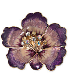 Anne Klein Gold-Tone Purple Crystal Flower Pin, Created for Macy's