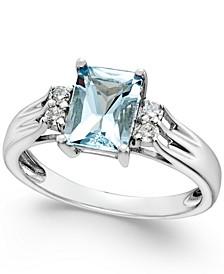 Aquamarine (1-1/5 ct. t.w.) and Diamond (1/10 ct. t.w.) Ring 14k White Gold