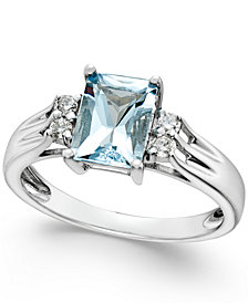 Aquamarine (1-1/5 ct. t.w.) and Diamond (1/10 ct. t.w.) Ring 14k White Gold