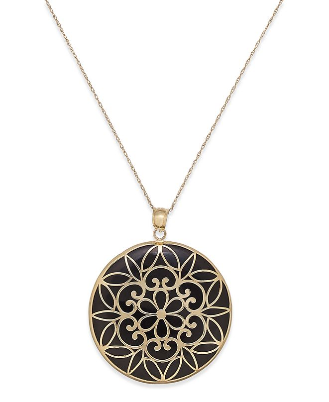 Macy's Onyx Decorative Medallion Pendant Necklace (35mm) in 14k Gold