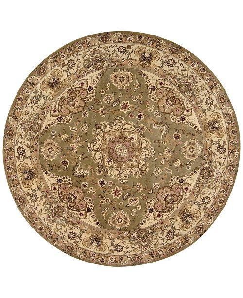 Nourison Wool & Silk 2000 2028 Olive 4' Round Rug