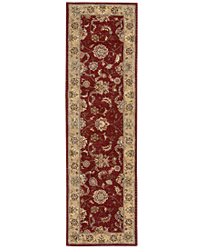 "Nourison Wool & Silk 2000 2203 Brick 2'6"" x 12' Runner Rug"