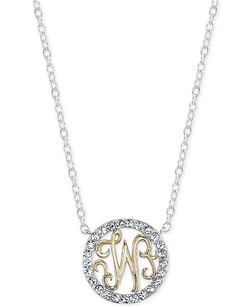 Unwritten initial pendant necklaces with crystal pav circle in initial pendant necklaces with crystal pav circle in sterling silver and gold flash 7 reviews main image main image main image aloadofball Image collections