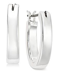Lauren Ralph Lauren Silver-Tone Medium Oval Hoop Earrings