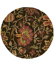 CLOSEOUT! Nourison Round Area Rug, Rajah Collection JA41 Tapestry Chocolate 6'