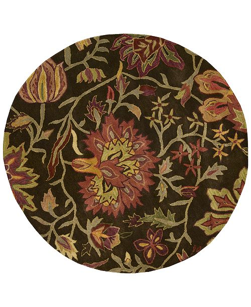 CLOSEOUT! Round Area Rug, Rajah Collection JA41 Tapestry Chocolate 6'