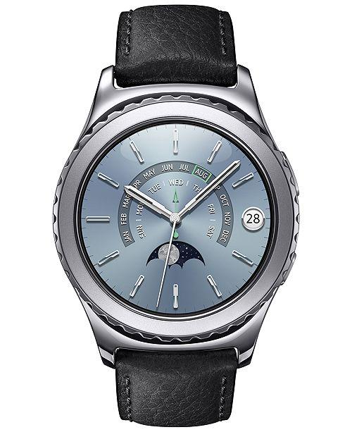 Samsung Unisex Gear S2 Premium Smart Watch with 40mm Platinum-Plated Case & Black Leather Strap SM-R7320WDAXAR