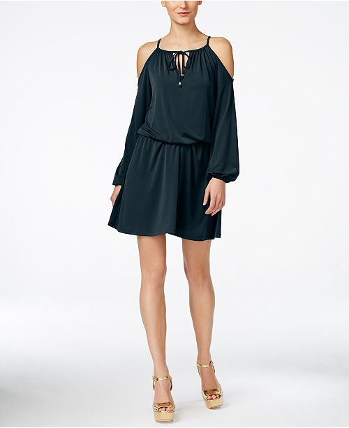 Michael Kors Cold-Shoulder Peasant Dress