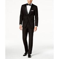 Perry Ellis Portfolio Solid Black Slim-Fit Tuxedo (Black)