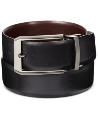 Perry Ellis Men\u0027s Leather Mr. Pebble Reversible Belt