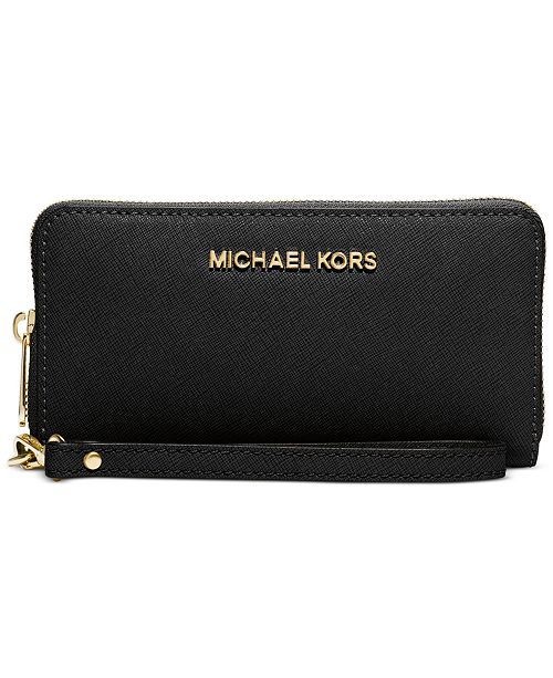 aae985e27bf6 ... Michael Kors Saffiano Jet Set Travel Flat Multifunction Wallet ...