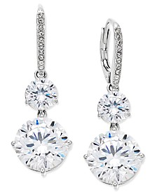 Eliot Danori Silver-Tone Crystal Double Drop Earrings, Created for Macy's