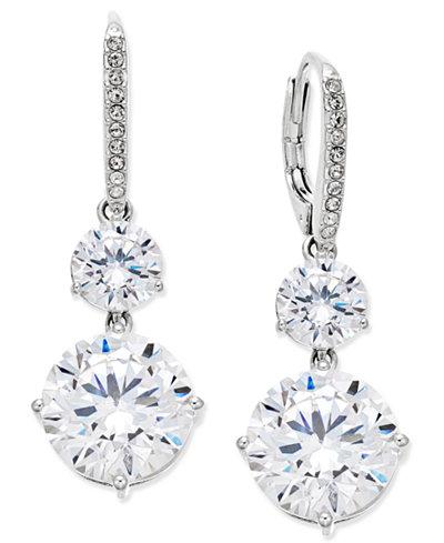 Danori Silver-Tone Crystal Double Drop Earrings, Created for Macy's