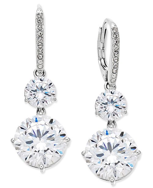 Danori Silver-Tone Crystal Double Drop Earrings, Created for Macy's
