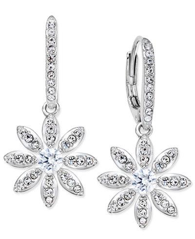 Danori Silver-Tone Pav� Flower Drop Earrings, Only at