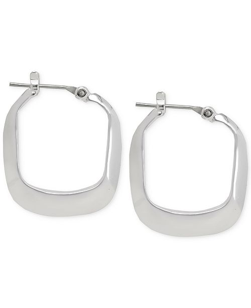 Kenneth Cole New York Small Silver Rectangle Hoop Earring