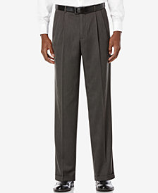 Perry Ellis Portfolio Classic Fit Double Pleat No-Iron Melange Microfiber Dress Pants