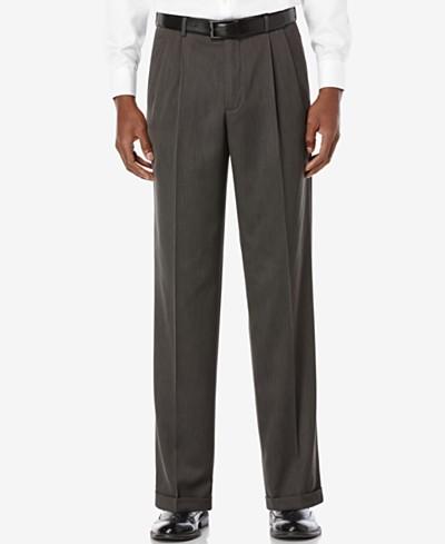 Perry Ellis Portfolio Classic Fit Double Pleat No-Iron Melange Microfiber Dress Pants