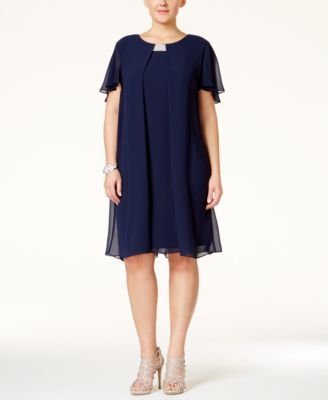 MSK Plus Size Flutter-Sleeve Chiffon Shift Dress