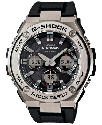 g shock watches macy s g shock men s analog digital black strap watch 59x52mm gsts110 1a
