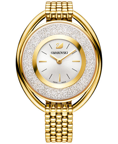 Swarovski Women's Swiss Crystalline Crystal Accent Gold-Tone Stainless Steel Mesh Bracelet Watch 43m...