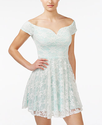 B Darlin Juniors Off The Shoulder Lace Fit Amp Flare Dress