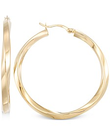 Polished Twist Hoop Earrings in 14k Gold Over Silver or 14k White Gold Over Silver