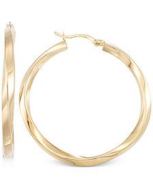 Polished Twist Hoop Earrings in 14k Gold Vermeil
