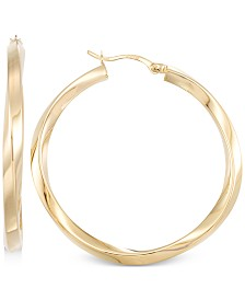 Polished Twist Hoop Earrings in 14k Gold Vermeil