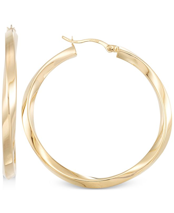Macy's Polished Twist Hoop Earrings in 14k Gold Over Silver or 14k White Gold Over Silver