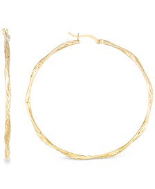 Twisted Hoop Earrings in 14k Gold Over Sterling Silver