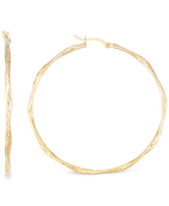 Macy's - Twisted Hoop Earrings in 14k Gold Over Sterling Silver