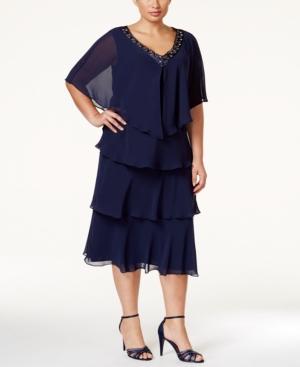 1930s Plus Size Dresses Sl Fashions Plus Size Tiered Sheath Dress and Embellished Jacket $129.00 AT vintagedancer.com