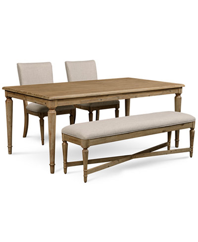 Summerside 4 Pc Dining Set Dining Table 2 Chairs Bench Furniture