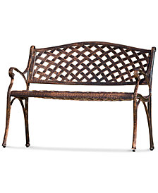 Elmann Antiqued Copper-Finish Bench, Quick Ship