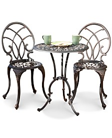 Dakara 3-Pc. Copper-Finish Aluminum Bistro Set, Quick Ship