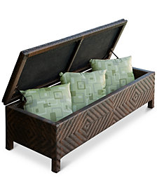 Hartfield Brown Resin Wicker Storage Ottoman, Quick Ship