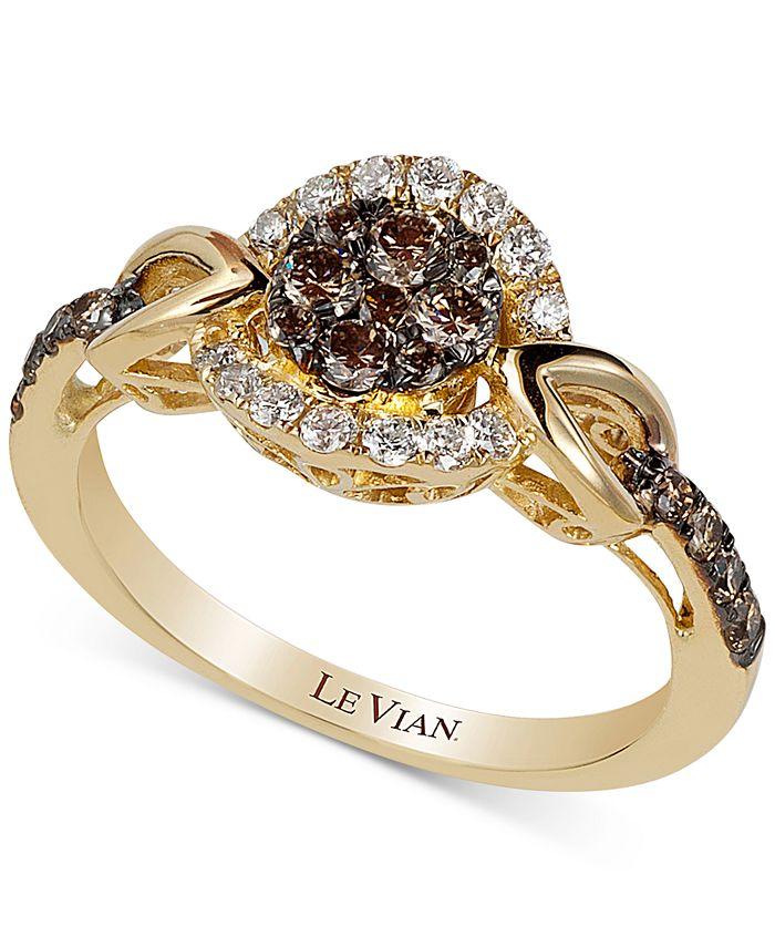 Le Vian - Framed Clusters Diamond Ring (5/8 ct. t.w.) in 14k Gold