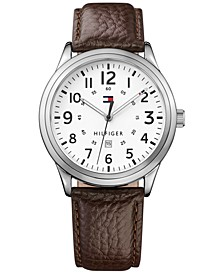 Men's  Brown Leather Strap Watch 42mm  Created for Macy's