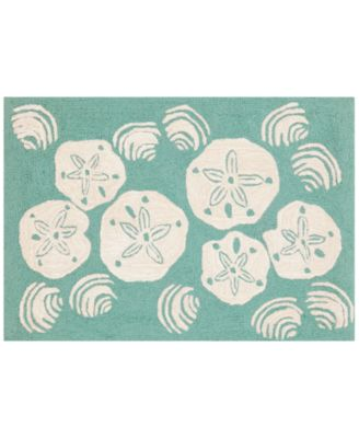 Liora Manne Front Porch Indoor/Outdoor Shell Toss Aqua 2'6'' x 4' Area Rug