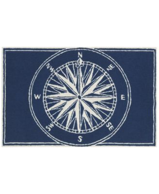 Liora Manne Front Porch Indoor/Outdoor Compass Navy 2'6'' x 4' Area Rug