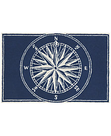 Liora Manne Front Porch Indoor/Outdoor Compass Navy 2'6'' x 4' Area Rug