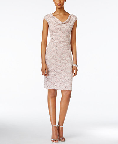 Connected Petite Cowl-Neck Lace Sheath Dress