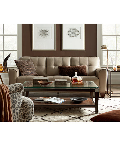 Kaleb Tufted Leather Sofa Collection, Created for Macy's ...