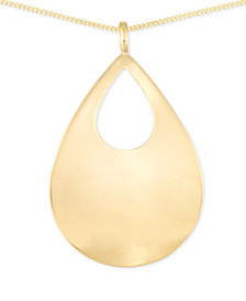 Polished Teardrop Long Length Pendant Necklace in 14k Vermeil